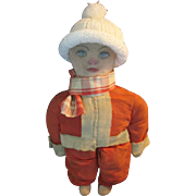 Santa in Training One of A Kind Old Rag Doll with Santa Outfit Delightful!!