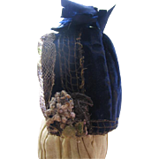 Antique Blue Velvet Doll Bonnet for French Fashion or German Doll