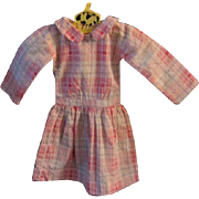 Early 1900s Doll Dress Pink Plaid Drop Waist