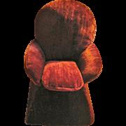 Ginny Size Overstuffed Chair Handmade Sewing Caddy Burgundy Velour
