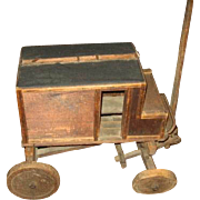 Very Old Handmade Toy Stage Coach or Wooden Carriage