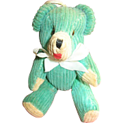 Miniature Green Corduroy Jointed Bear