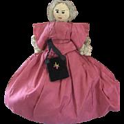 Folk Art Cloth Doll 19th Century Church Doll