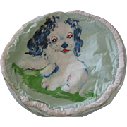 Puppy on Vintage Pillow Cover 1940s or 50s