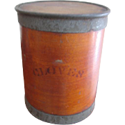 Antique Wooden Barrel Spice Box for Cloves