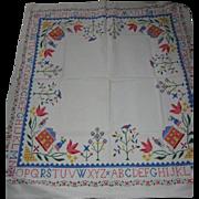 Vintage Kitchen Tablecloth with Sampler Type Design