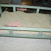 REDUCED Green Painted Wooden Doll Cradle 1930s