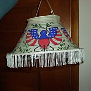 Patriotic Lantern with Fringe MIJ Paper Vintage Red White Blue Shade