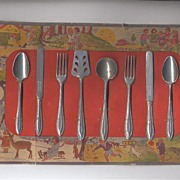 SALE German Toy Utensil Set on Original Lithographed Card
