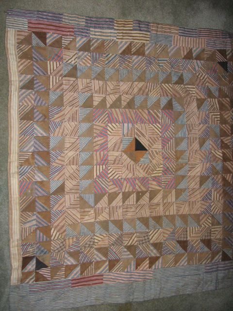 Crib Quilt Brown & Blue Check Fabrics Antique Mennonite Made