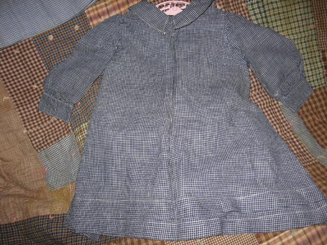 Baby Dress Indigo Blue Checked Pristine from Victorian Era