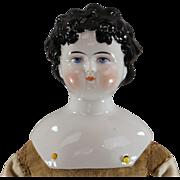 Dolley Madison China Head Doll c1865 Black Hair Ready to Dress