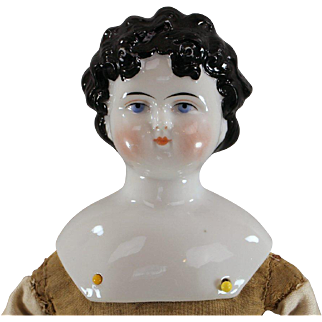 SALE Dolley Madison China Head Doll c1865 Black Hair Ready to Dress