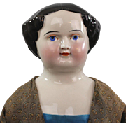 REDUCED Kestner China Head Lady Doll 1860 Unusual Face