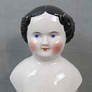 "REDUCED Civil War Era China Doll Head 6-1/2"" Heavy Modeling"