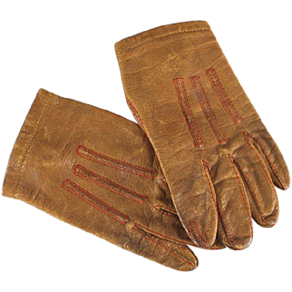 SALE Antique Doll or Child's Leather Gloves Red Stitching Monogram Closure