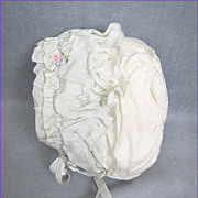 REDUCED Baby or Baby Doll Bonnet Pale Blue Silk Padded Silk Lining