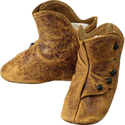 """REDUCED Keystone Brown Leather Boots 3-1/4"""" Long"""