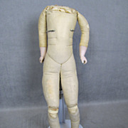 German Kid Leather Doll Body Bisque Arms Kestner