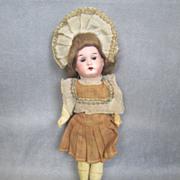 "German Bisque 8"" Child Great Costume & Wig Factory Original"