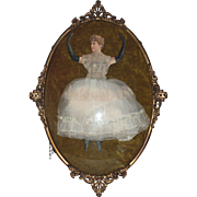 SOLD c1880s Hinged Ballet Dancer Paper Doll in Convex Glass and Ornate Metal Frame