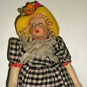 Early Wide Surprise Eyed Lenci Miniature Doll, Ca 1930s, Tagged