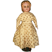 Nice Wax over Mache Antique Doll w Rare Snood