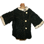 Lovely Early Made Black Lamb's Wool Doll Coat