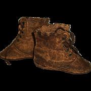 Nice Pair of Antique Leather Shoes, Large Papier Mache, Cloth