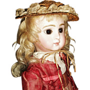 Wonderful Antique Doll French or German Straw Hat, French Fashion, French Bebe