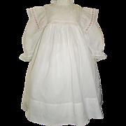 Lovely Antique White Cotton Dress, Large Doll, Kestner, Handwerck