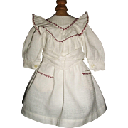 SOLD Sweet White Cotton Doll Dress, Feather Stitching