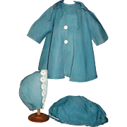 Sweet Early Vintage Doll Outfit, Matching Coat, Hat, Dress and Undies