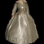 Lovely Black and White Stripe Silk French Fashion Doll Dress