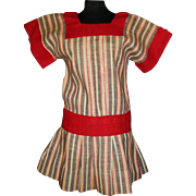 Sweet Vintage Red Stripe Chambray Drop Waist Doll Dress, Schoenhut