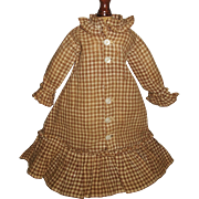 SOLD Lovely Antique Brown And White Check Doll Dress, China, Cloth, Papier Mache