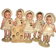 Fabulous Set of 5 Madame Alexander Dionne Quint Toddlers w Hang Tag