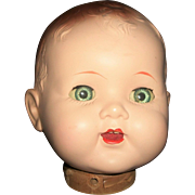 Cute Vintage Large Hard Plastic Doll Head, Needs Body