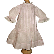 Sweet Early Pink Swiss Drop Waist Doll Dress, Handwerck, Kestner, French or German