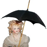 Wonderful Antique  Black Silk Miniature French Fashion Parasol