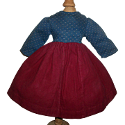 Nice Early Vintage Doll Dress, Wool / Calico
