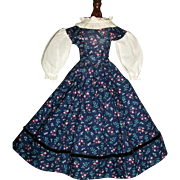 Pretty Blue Floral Doll Dress, China, Papier Mache