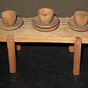 Early Doll house Primitives, Tables w Wooden Dishes
