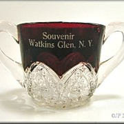 Ruby Stained McKee Heart Band Souvenir Sugar Bowl Watkins Glen NY