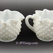 SOLD Fenton Milk Glass Hobnail Star Crimped Creamer and Sugar Bowl - Red Tag Sale Item