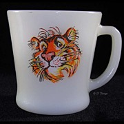 Fire King Milk Glass Advertising Tiger Mug From Esso Gas