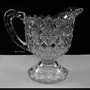 EAPG US Glass Company Fine Cut and Block Footed Creamer