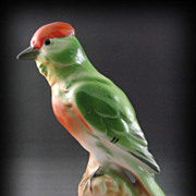 SOLD Beautiful Colorful Vintage Bird Perched on Rock with Open Bottom  Reds, Greens