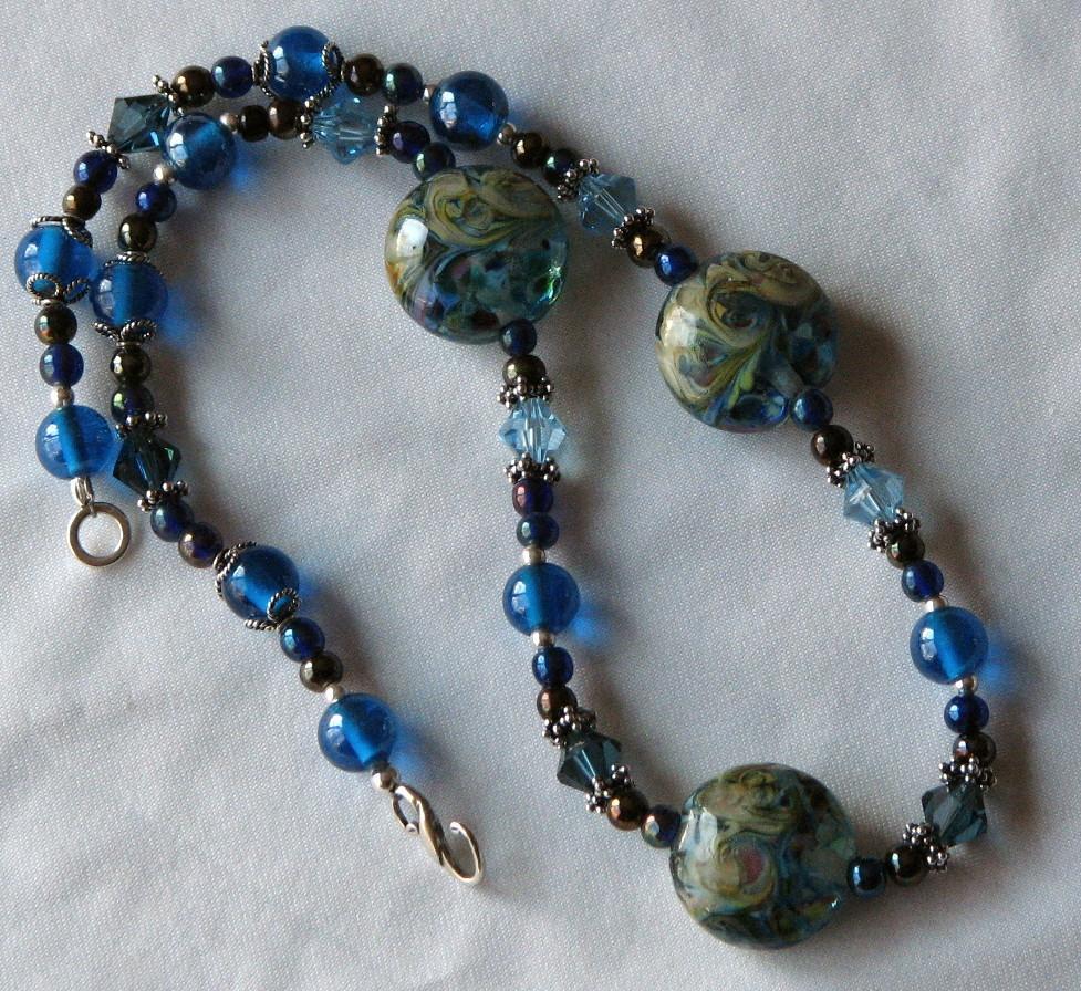 Raku Waters – Beautiful Blue Lampwork Necklace