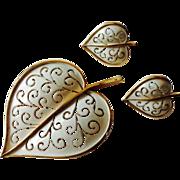 Vintage Trifari Leaf Motif Set in White Enamel